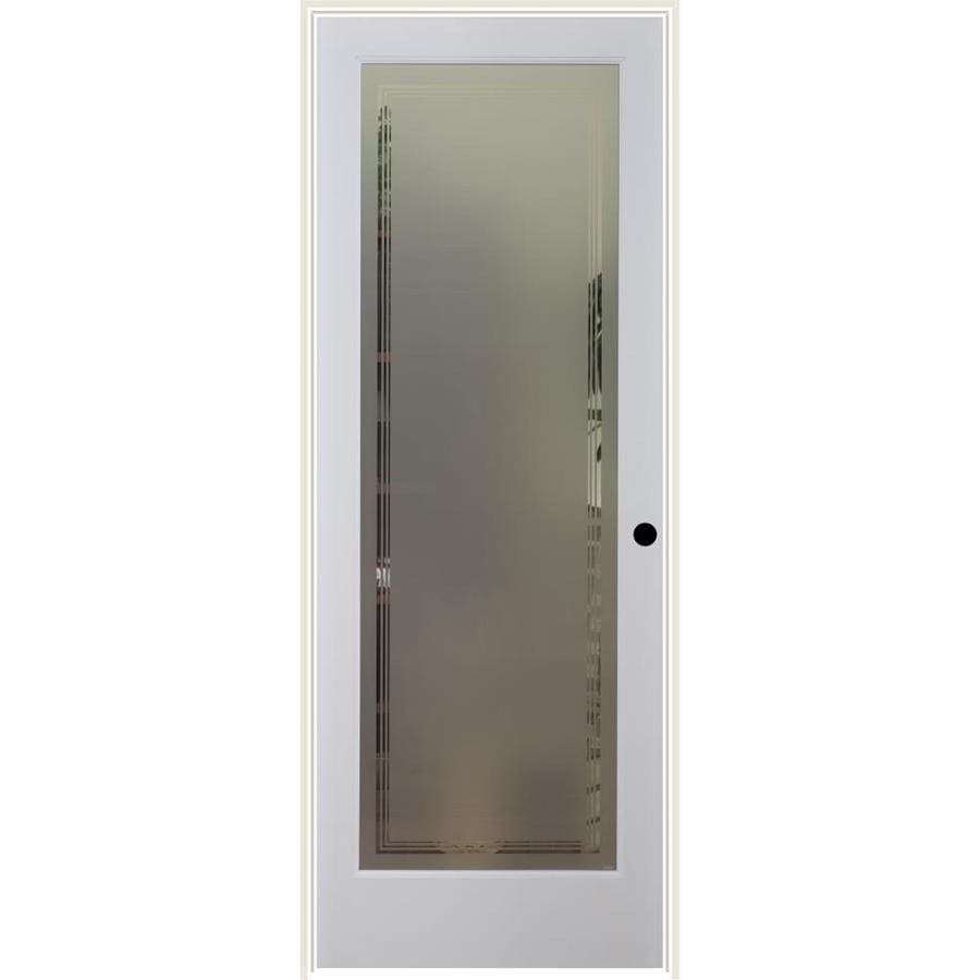 Shop reliabilt white 1 panel solid core frosted glass wood pine single prehung door common 28 for 5 panel frosted glass interior door