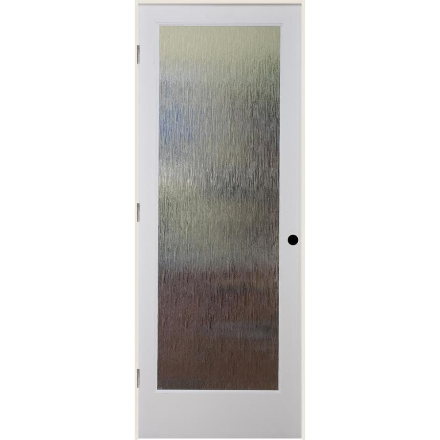 Shop Reliabilt Rainy Day Solid Core Patterned Glass Single Prehung Interior Door Common 28 In