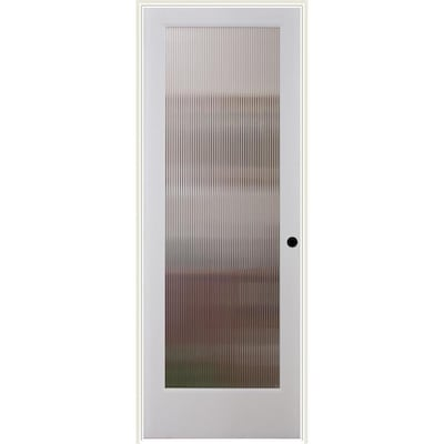 Reliabilt White 1 Panel Solid Core Patterned Glass Wood Pine