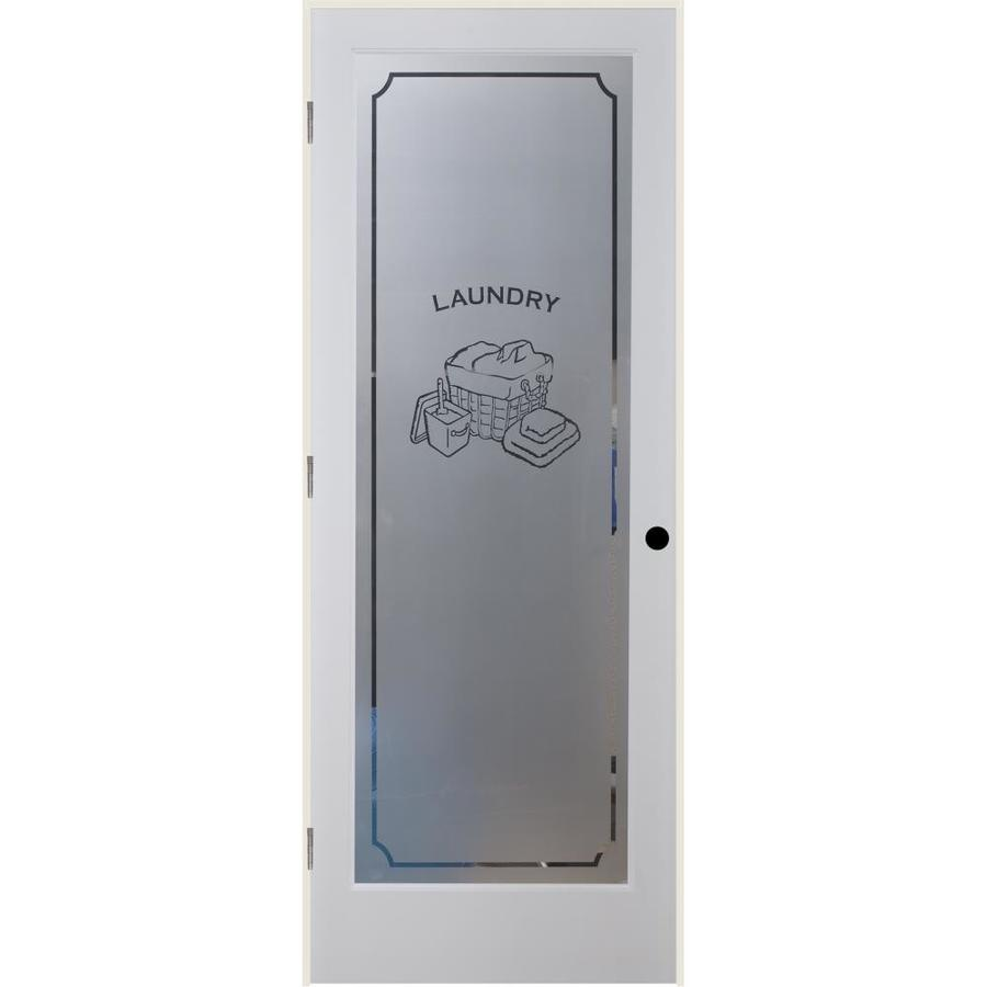 ReliaBilt White 1 Panel Solid Core Frosted Glass Wood Pine Single Prehung  Door (Common: 32 In X 80 In; Actual: 33.375 In X 81.3125 In)