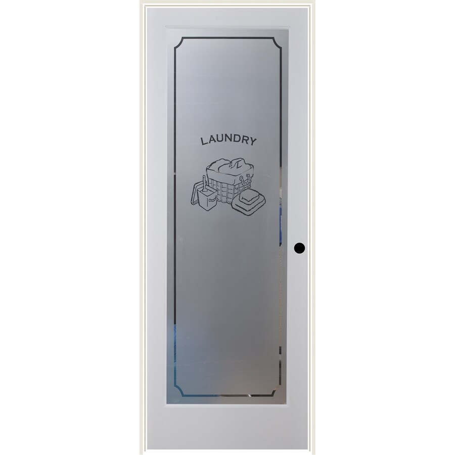 ReliaBilt White Flush Solid Core Frosted Glass Wood Pine Single Prehung Door  (Common: 36