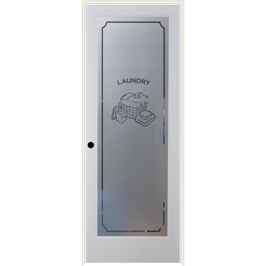 ReliaBilt Laundry Solid Core Frosted Glass Single Prehung Interior Door (Common: 32-in x 80-in; Actual: 33.5-in x 81.6875-in)