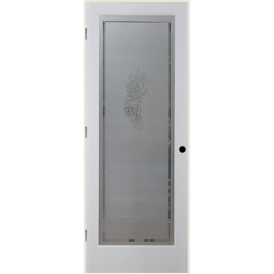 ReliaBilt Vintage Solid Core Frosted Glass Single Prehung Interior Door (Common: 24-in x 80-in; Actual: 25.5-in x 81.3125-in)