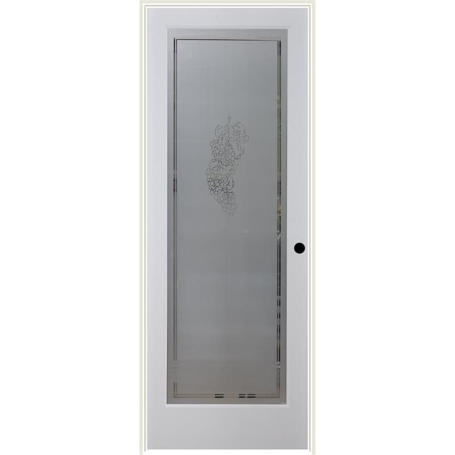 Shop reliabilt white 1 panel solid core frosted glass wood pine single prehung door common 32 for 5 panel frosted glass interior door