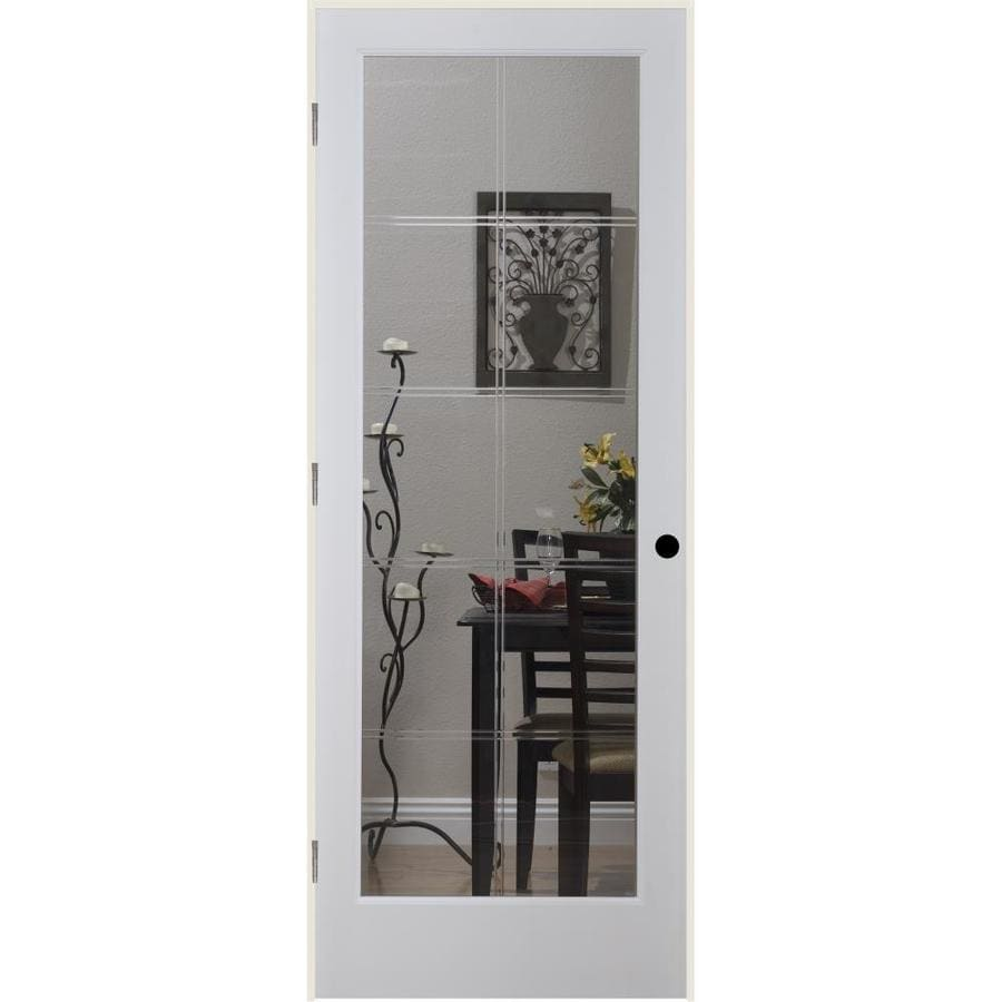 ReliaBilt 10LT V-Groove Solid Core Etched Glass Single Prehung Interior Door (Common: 32-in x 80-in; Actual: 33.5-in x 81.3125-in)
