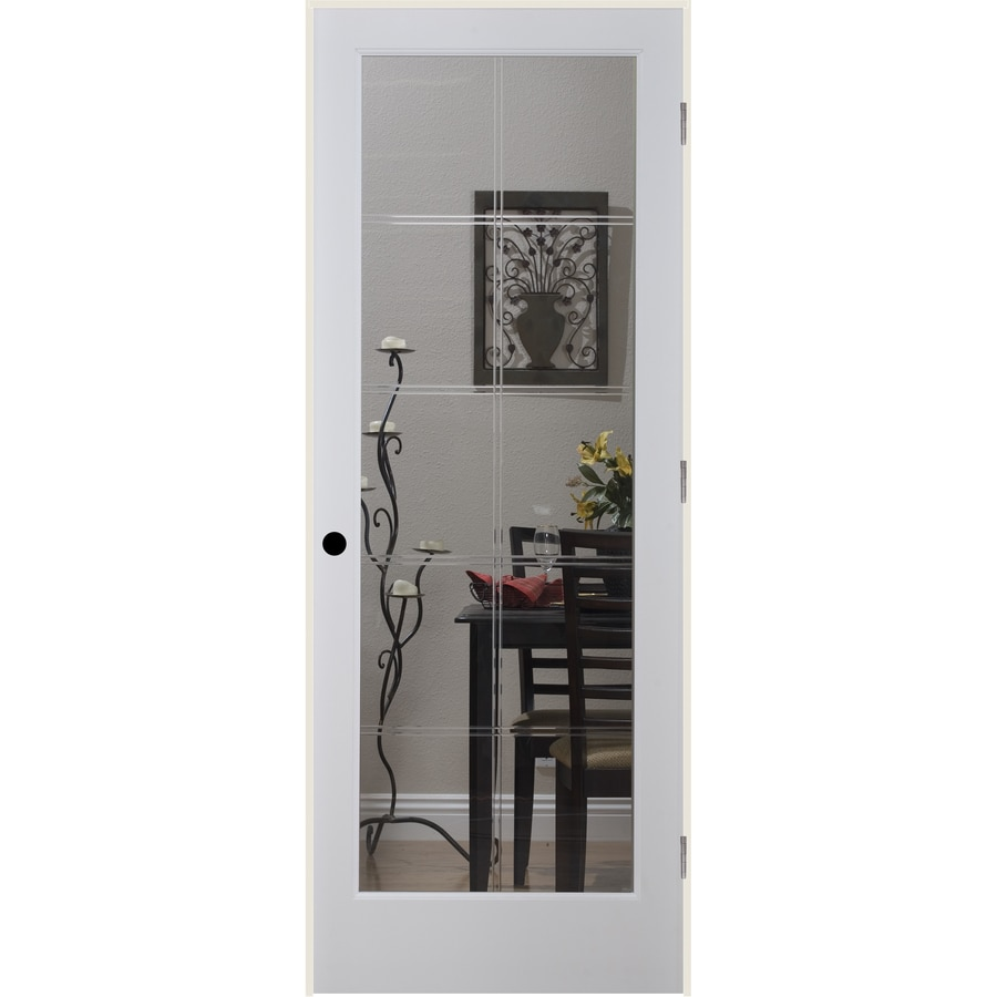 ReliaBilt 10LT V-Groove Solid Core Etched Glass Single Prehung Interior Door (Common: 36-in x 80-in; Actual: 37.5-in x 82.1875-in)