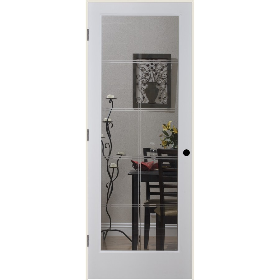 ReliaBilt 10LT V-Groove Solid Core Etched Glass Single Prehung Interior Door (Common: 24-in x 80-in; Actual: 25.5-in x 81.6875-in)