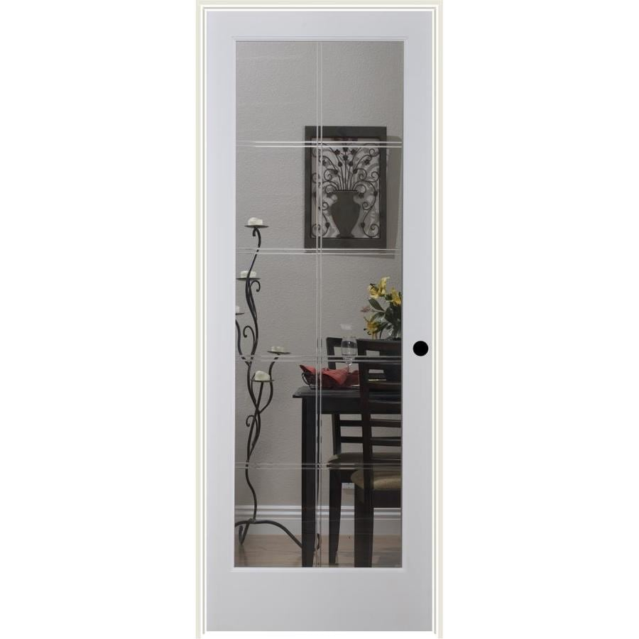 ReliaBilt 10LT V-Groove Solid Core Etched Glass Single Prehung Interior Door (Common: 24-in x 80-in; Actual: 25.5-in x 82.1875-in)