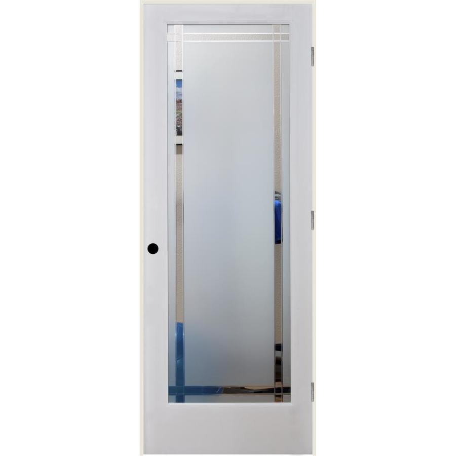 ReliaBilt 9LT Obscure Solid Core Etched Glass Single Prehung Interior Door (Common: 32-in x 80-in; Actual: 33.5-in x 81.3125-in)