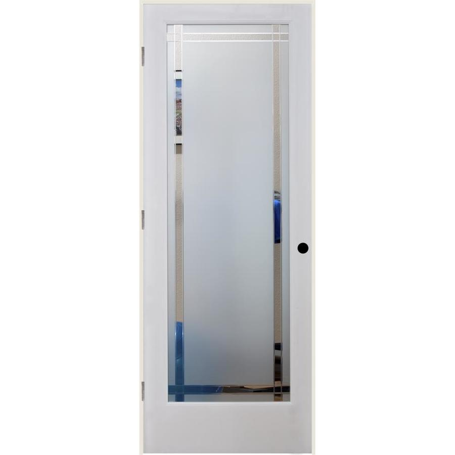 ReliaBilt 9LT Obscure Solid Core Etched Glass Single Prehung Interior Door (Common: 28-in x 80-in; Actual: 29.5-in x 82.1875-in)