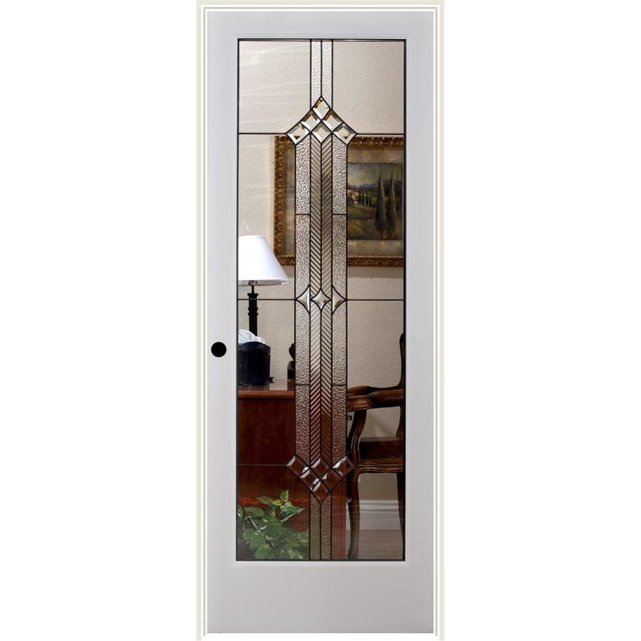 Reliabilt White 1 Panel Solid Core Etched Glass Wood Pine Single Prehung Door Common 30 In X