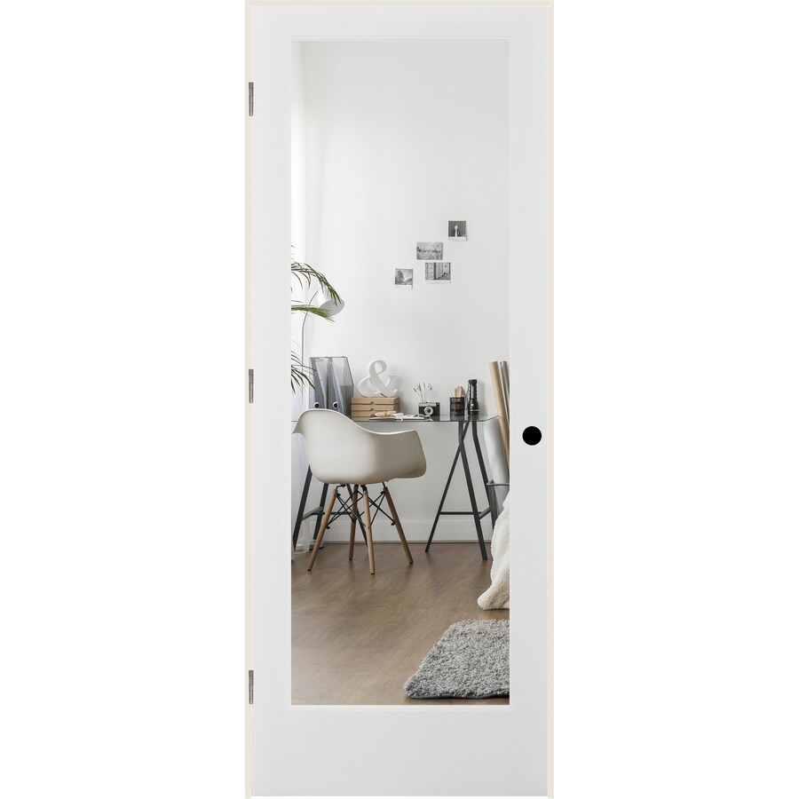 ReliaBilt Clear Glass Solid Core Single Prehung Interior Door (Common: 24-in x 80-in; Actual: 25.5-in x 81.3125-in)