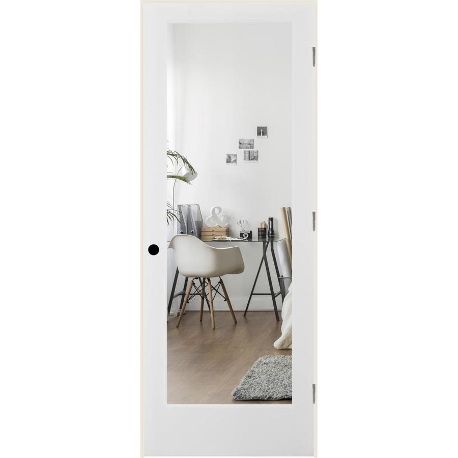 ReliaBilt Clear Glass Solid Core Single Prehung Interior Door (Common: 28-in x 80-in; Actual: 29.5-in x 81.3125-in)