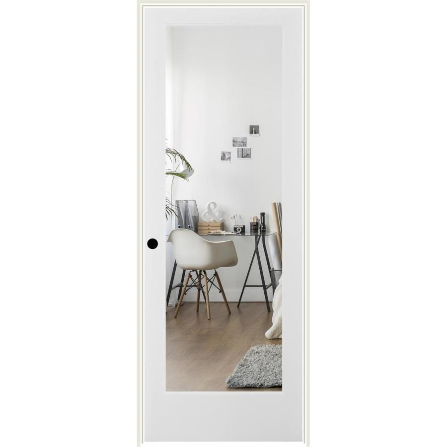 ReliaBilt Clear Glass Solid Core Single Prehung Interior Door (Common: 24-in x 80-in; Actual: 25.5-in x 81.6875-in)