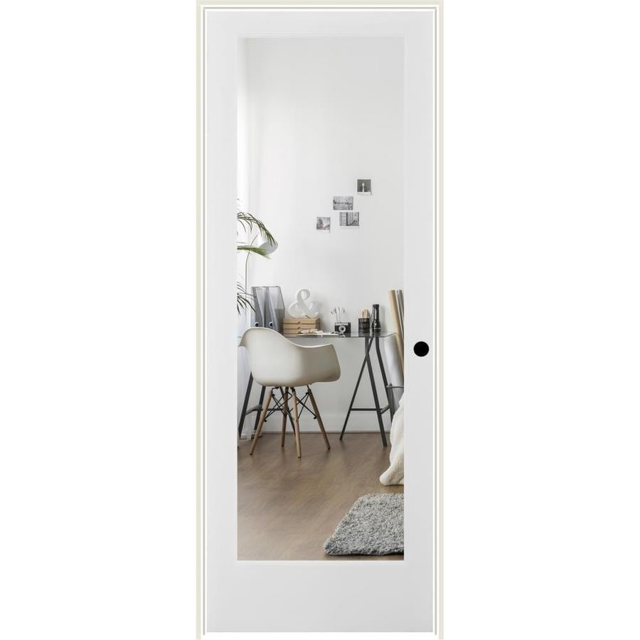 ReliaBilt Clear Glass Solid Core Single Prehung Interior Door (Common: 24-in x 80-in; Actual: 25.5-in x 81.6875-in)