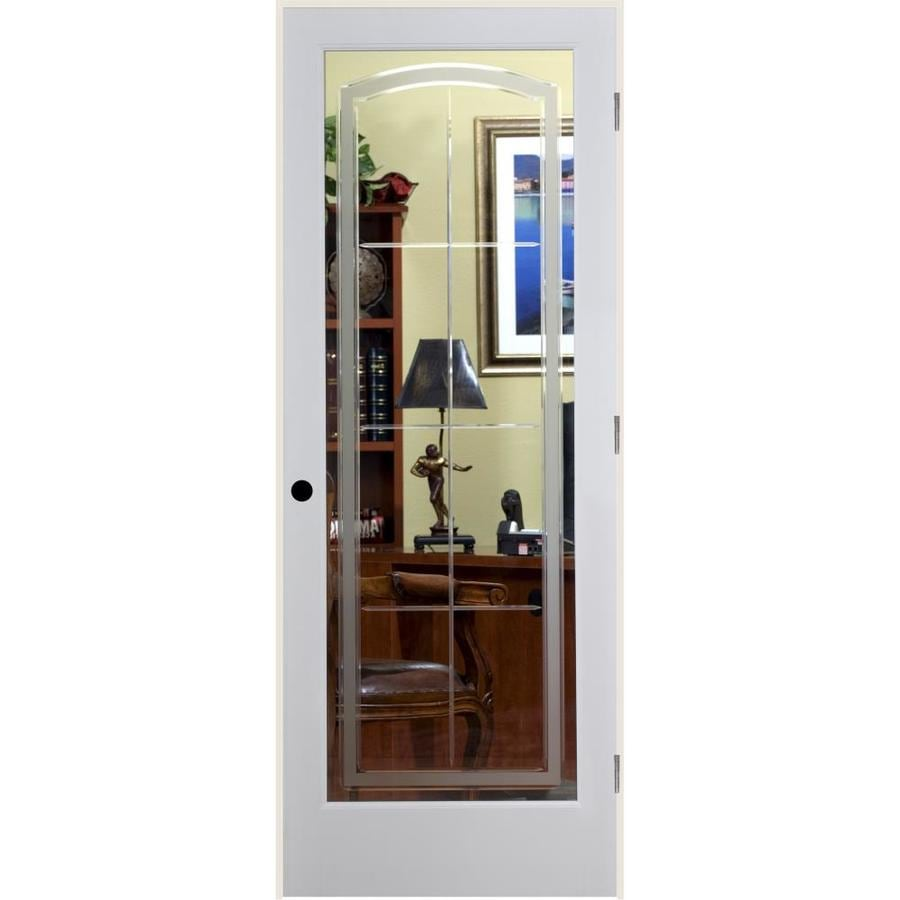 ReliaBilt Stratford Solid Core Etched Glass Single Prehung Interior Door (Common: 24-in x 80-in; Actual: 25.5-in x 82.1875-in)