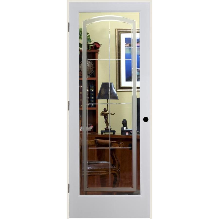 ReliaBilt Stratford Solid Core Etched Glass Single Prehung Interior Door (Common: 24-in x 80-in; Actual: 25.5-in x 81.6875-in)