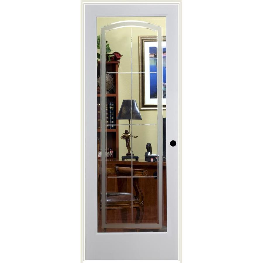 ReliaBilt Stratford Solid Core Etched Glass Single Prehung Interior Door (Common: 32-in x 80-in; Actual: 33.5-in x 81.3125-in)