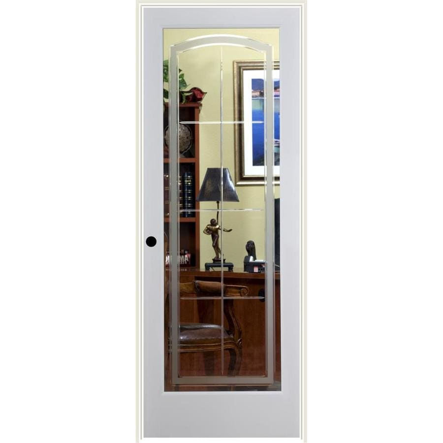 ReliaBilt Stratford Solid Core Etched Glass Single Prehung Interior Door (Common: 32-in x 80-in; Actual: 33.5-in x 82.1875-in)