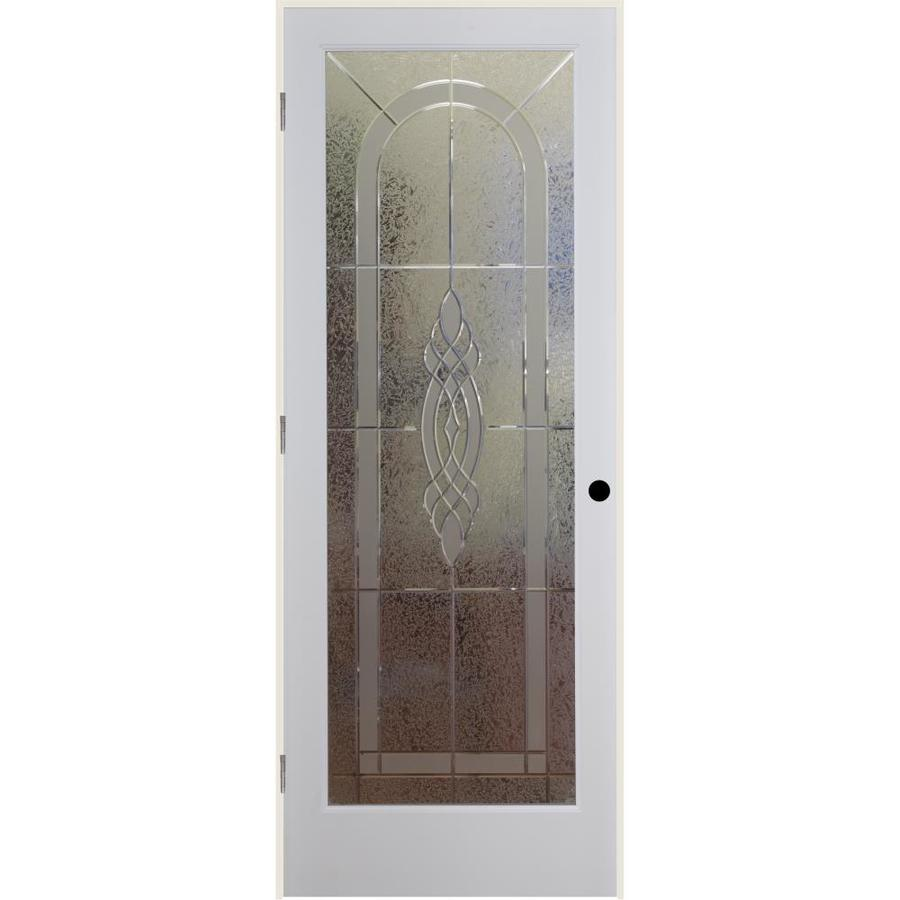 Shop reliabilt cameron solid core etched glass single prehung interior door common 24 in x 80 for Reliabilt decorative glass interior doors