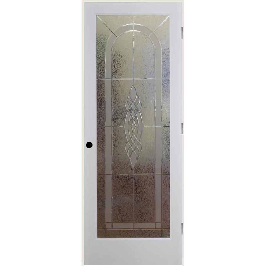 ReliaBilt Cameron Solid Core Etched Glass Single Prehung Interior Door (Common: 24-in x 80-in; Actual: 25.5-in x 82.1875-in)