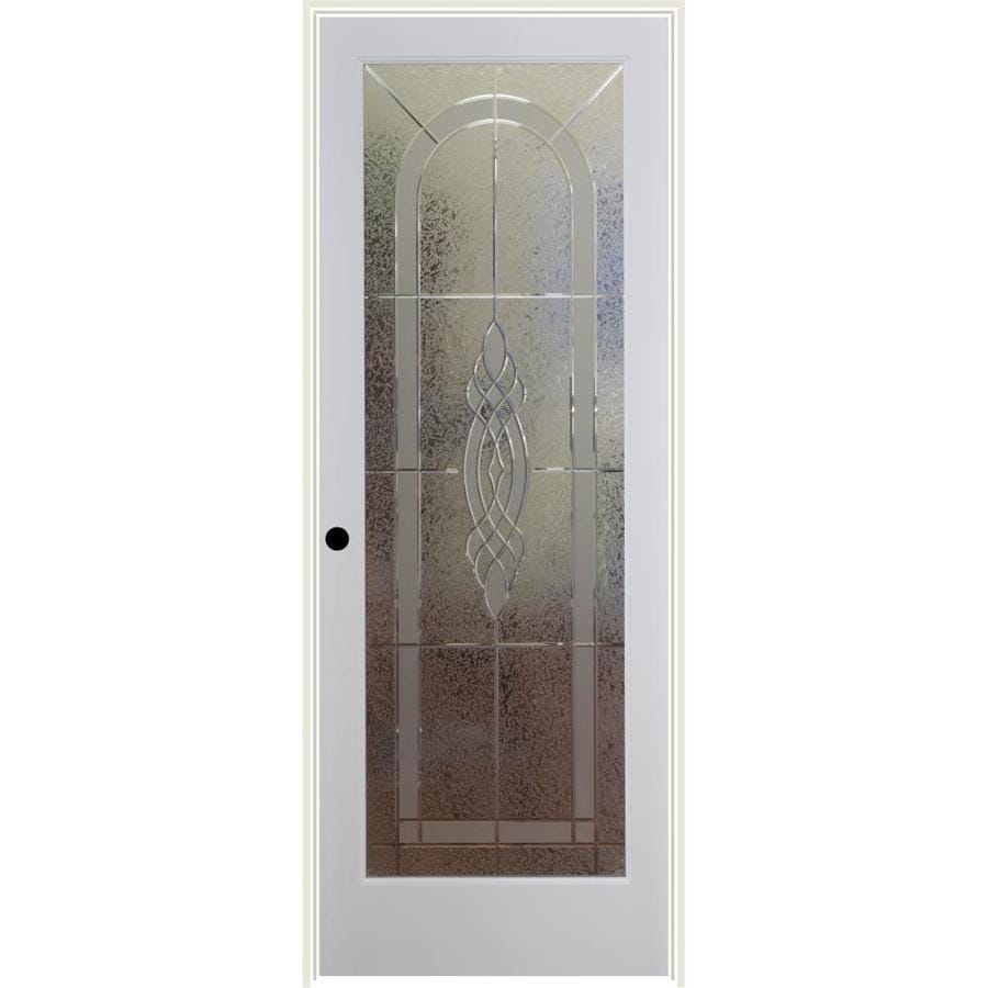 Shop reliabilt white 1 panel solid core etched glass wood pine single prehung door common 36 for Lowes interior doors prehung