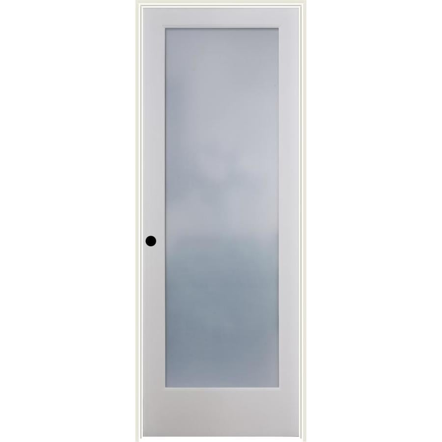 Shop reliabilt white 1 panel solid core wood pine single prehung door common 32 in x 80 in for 5 panel frosted glass interior door