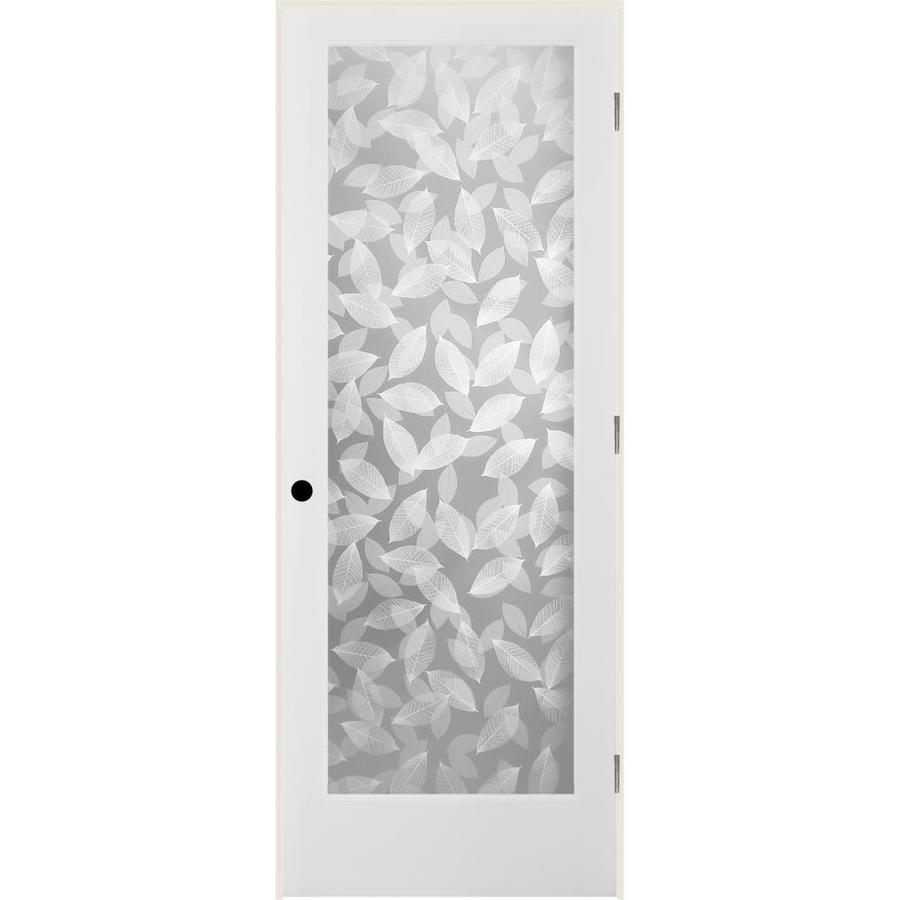 ReliaBilt Botanical Solid Core Frosted Glass Single Prehung Interior Door (Common: 24-in x 80-in; Actual: 25.5-in x 82.1875-in)