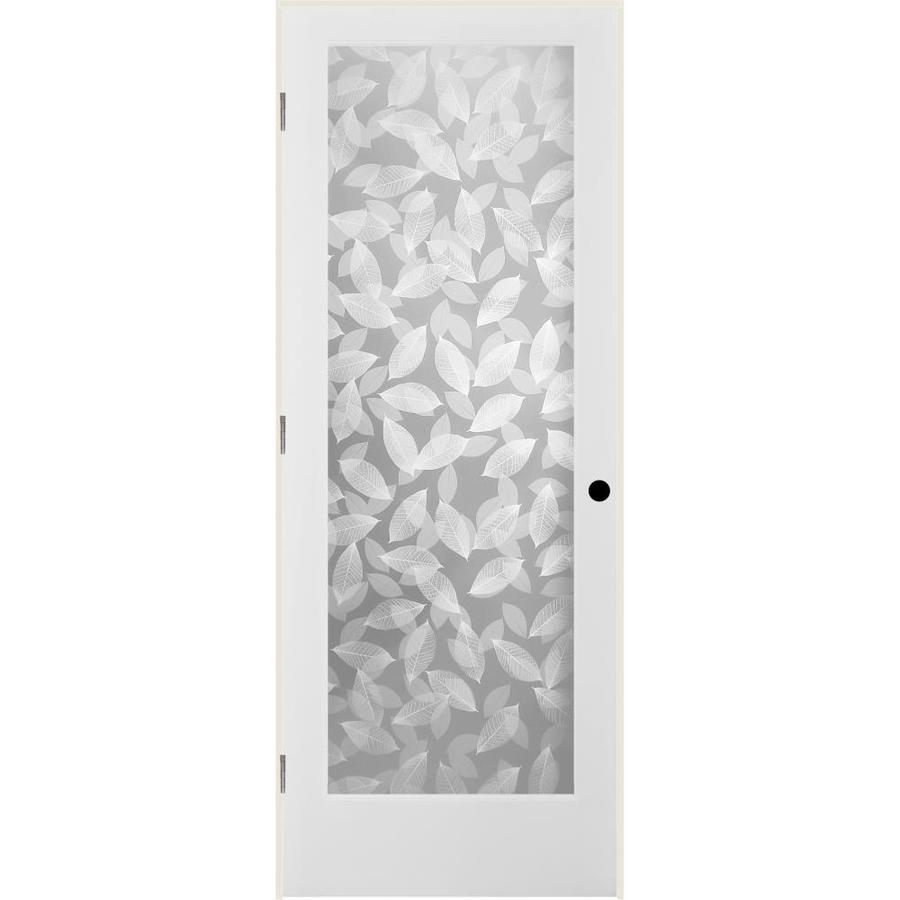 ReliaBilt Botanical Solid Core Frosted Glass Single Prehung Interior Door (Common: 24-in x 80-in; Actual: 25.5-in x 81.6875-in)