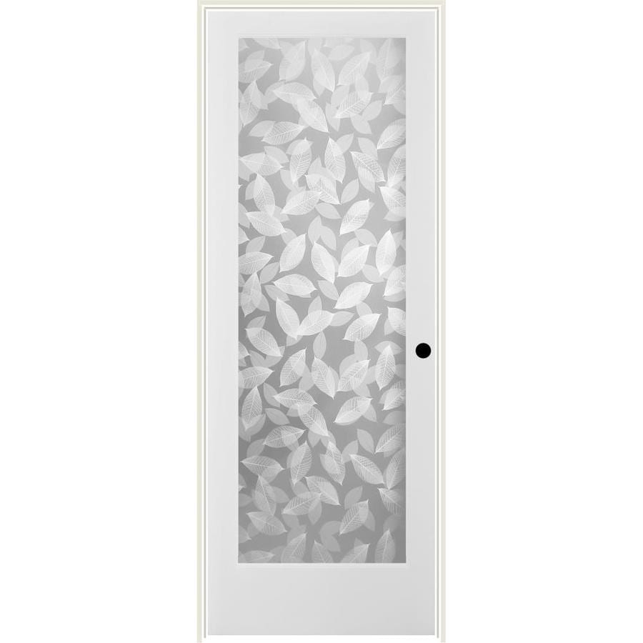 Shop reliabilt white 1 panel solid core frosted glass wood pine single prehung door common 30 for Reliabilt decorative glass interior doors