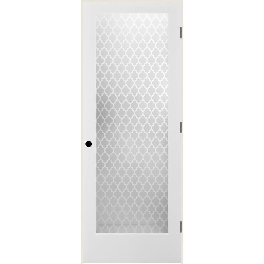 ReliaBilt Cathedral Solid Core Frosted Glass Single Prehung Interior Door (Common: 24-in x 80-in; Actual: 25.5-in x 82.1875-in)