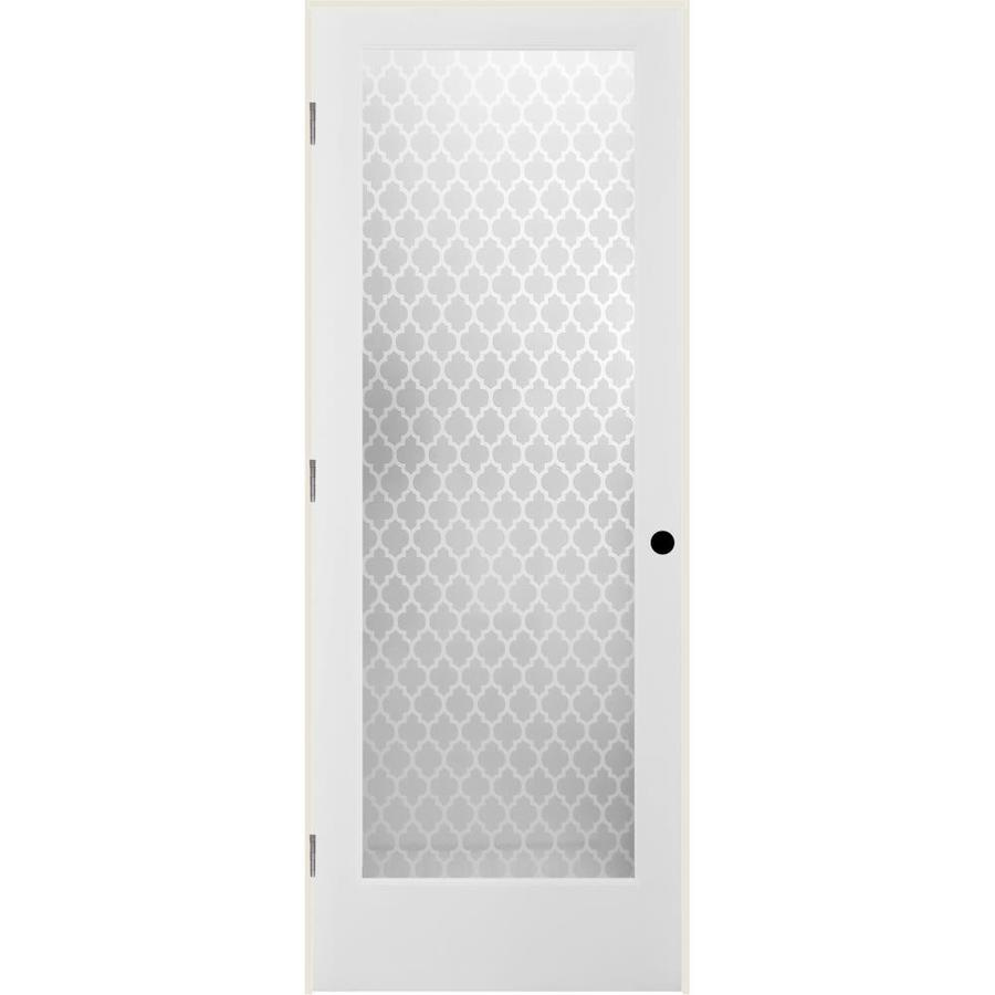Shop Reliabilt Cathedral Solid Core Frosted Glass Single Prehung Interior Door Common 32 In X