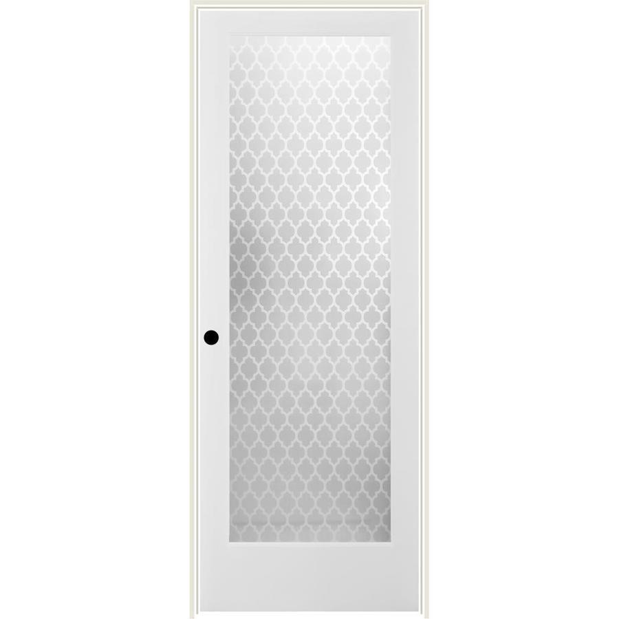 ReliaBilt Cathedral Solid Core Frosted Glass Single Prehung Interior Door (Common: 24-in x 80-in; Actual: 25.5-in x 81.3125-in)