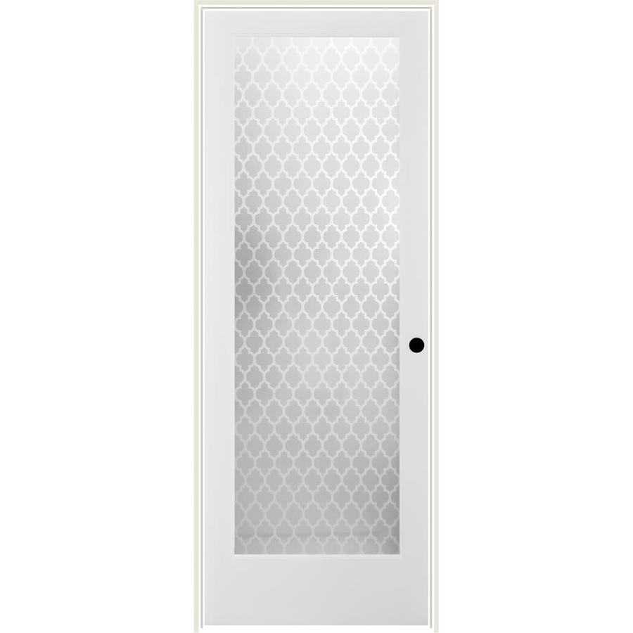 ReliaBilt Cathedral Solid Core Frosted Glass Single Prehung Interior Door (Common: 32-in x 80-in; Actual: 33.5-in x 81.6875-in)