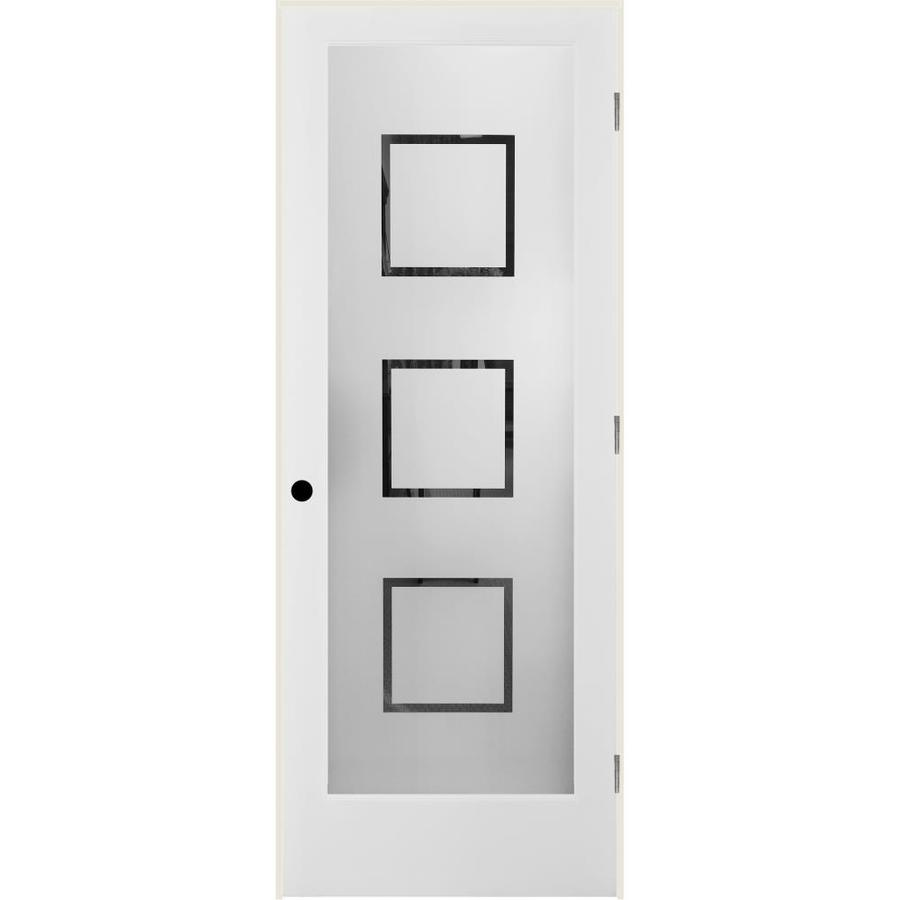 ReliaBilt Metropolitan Solid Core Frosted Glass Single Prehung Interior Door (Common: 36-in x 80-in; Actual: 37.5-in x 81.3125-in)