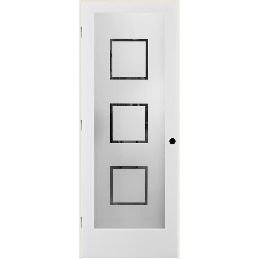 Shop reliabilt white 1 panel solid core frosted glass wood pine single prehung door common 24 for Reliabilt decorative glass interior doors