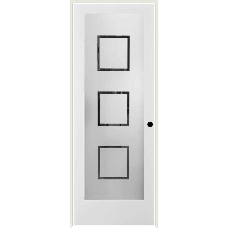 ReliaBilt Metropolitan Solid Core Frosted Glass Single Prehung Interior Door (Common: 24-in x 80-in; Actual: 25.5-in x 82.1875-in)