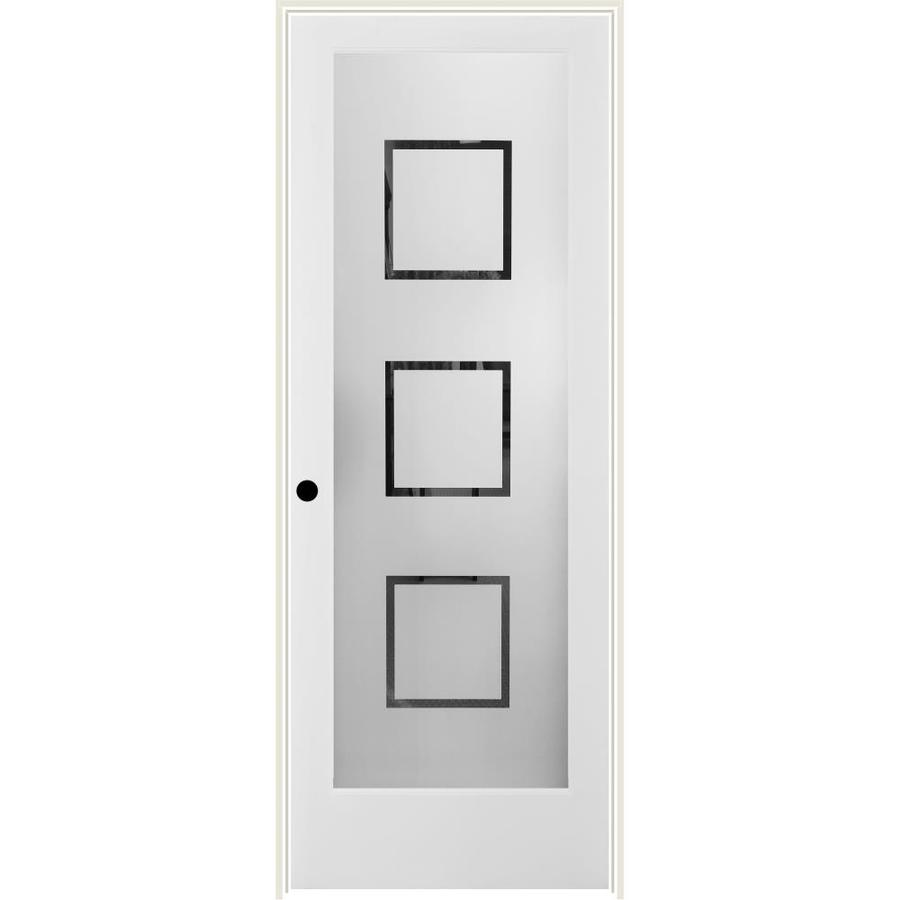 Shop reliabilt white 1 panel solid core frosted glass wood pine single prehung door common 30 for Lowes interior doors prehung