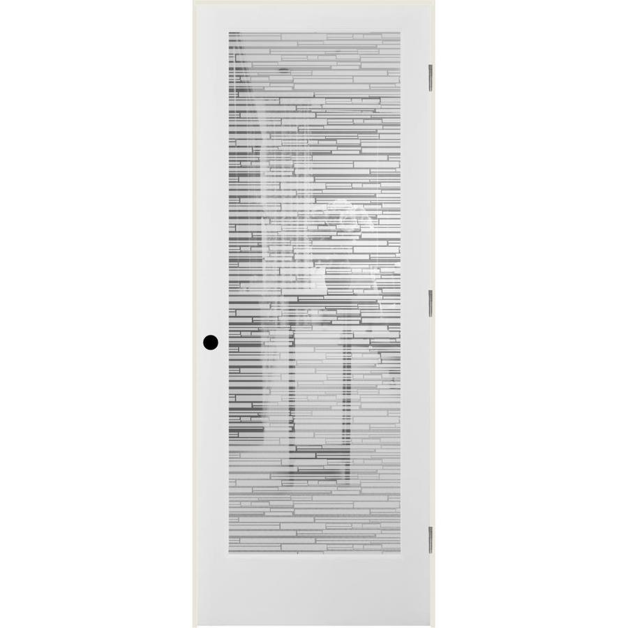 ReliaBilt Mosaic Solid Core Frosted Glass Single Prehung Interior Door (Common: 24-in x 80-in; Actual: 25.5-in x 81.3125-in)