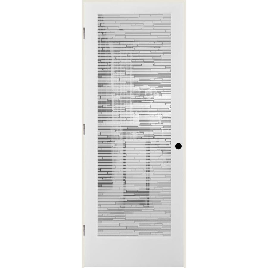 ReliaBilt Mosaic Solid Core Frosted Glass Single Prehung Interior Door (Common: 24-in x 80-in; Actual: 25.5-in x 82.1875-in)