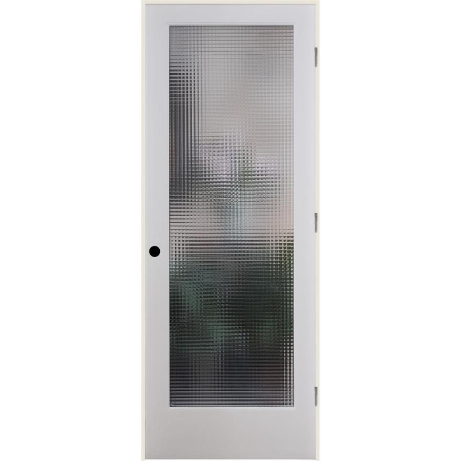 ReliaBilt Cross Reed Solid Core Patterned Glass Single Prehung Interior Door (Common: 28-in x 80-in; Actual: 29.5-in x 81.3125-in)