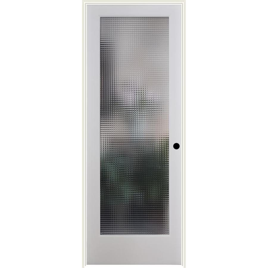ReliaBilt Cross Reed Solid Core Patterned Glass Single Prehung Interior Door (Common: 24-in x 80-in; Actual: 25.5-in x 82.1875-in)