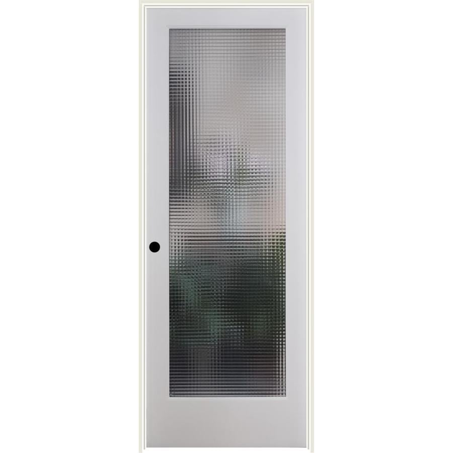 Shop Reliabilt Cross Reed Solid Core Patterned Glass Single Prehung Interior Door Common 30 In