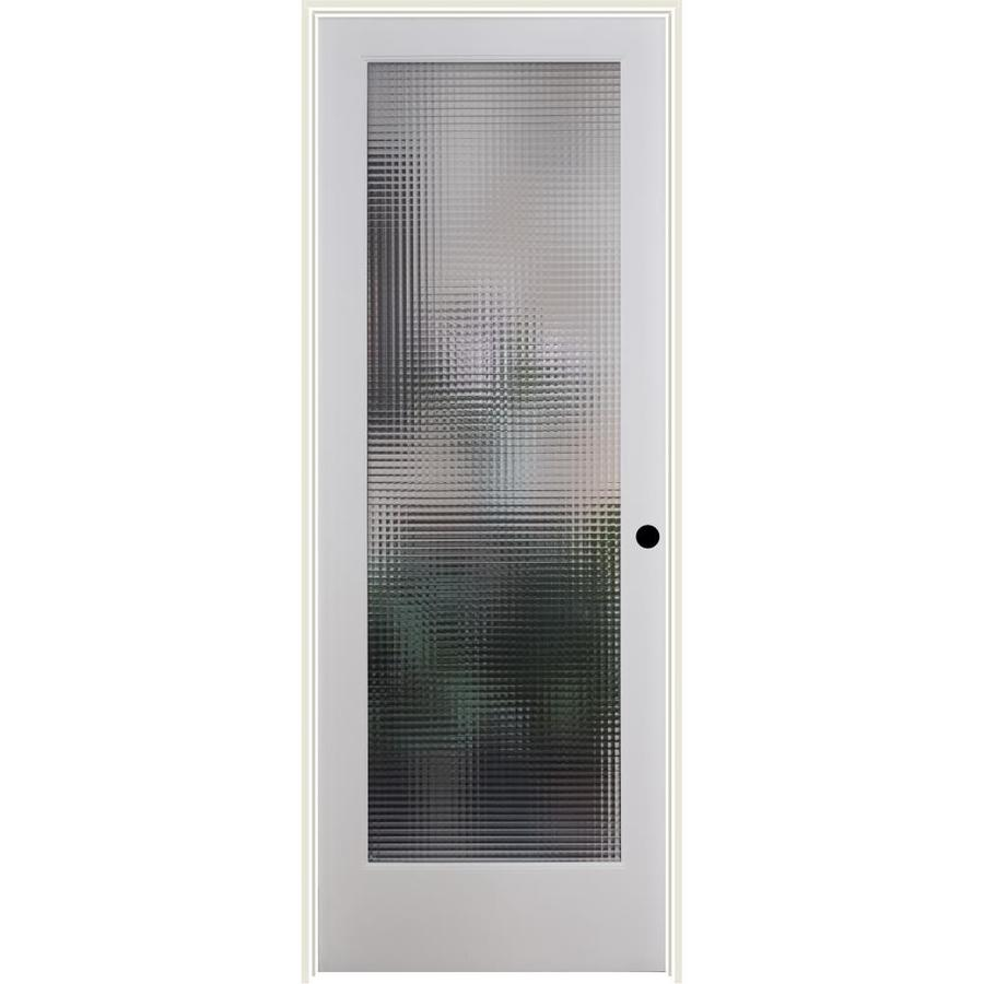 ReliaBilt Cross Reed Solid Core Patterned Glass Single Prehung Interior Door (Common: 32-in x 80-in; Actual: 33.5-in x 81.6875-in)
