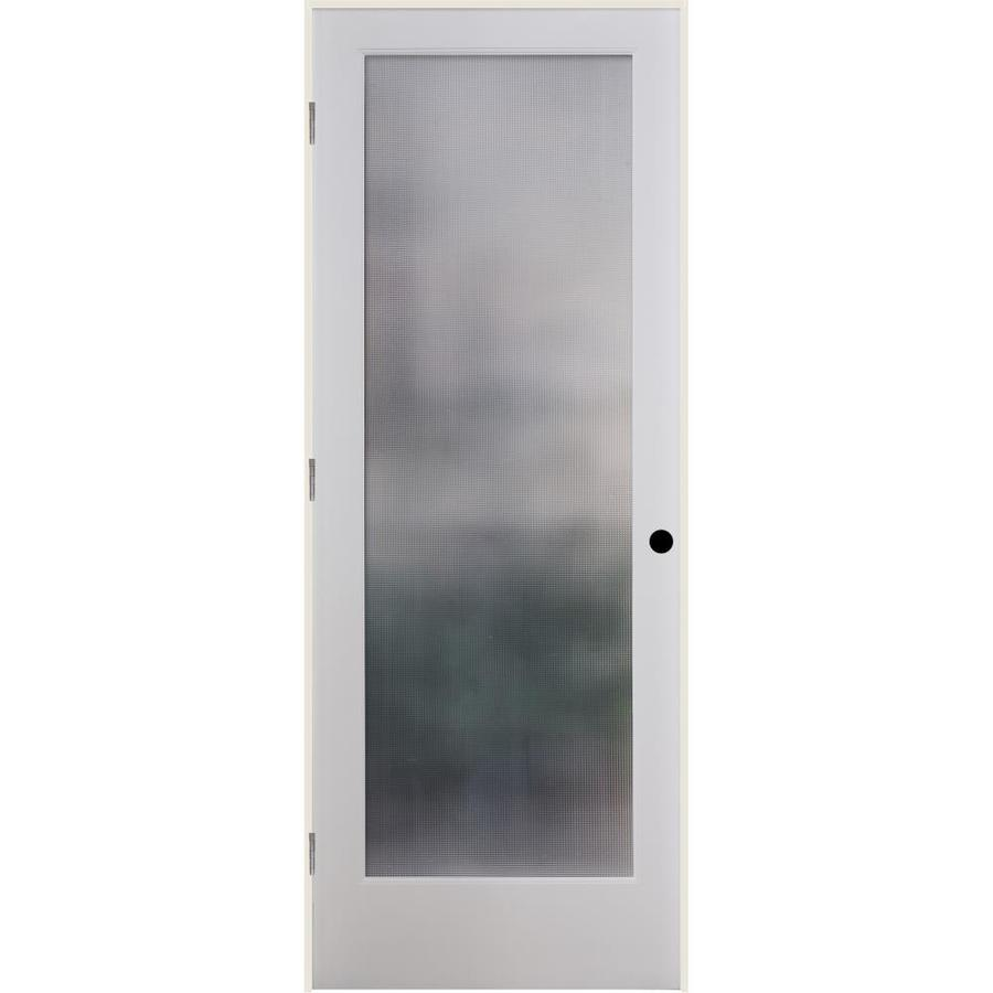 ReliaBilt Micro Cross Reed Solid Core Patterned Glass Single Prehung Interior Door (Common: 24-in x 80-in; Actual: 25.5-in x 81.6875-in)