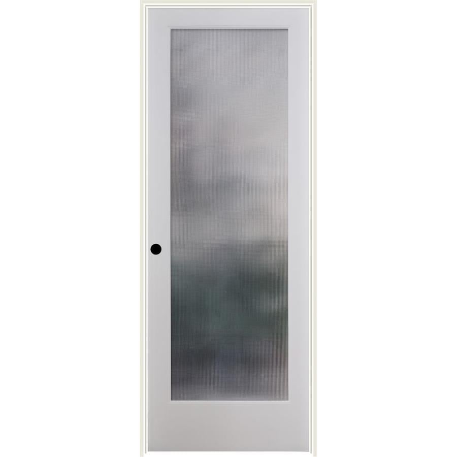 Shop reliabilt white 1 panel solid core patterned glass wood pine single prehung door common for Reliabilt decorative glass interior doors