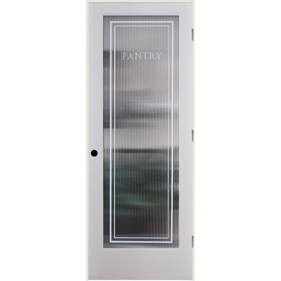 ReliaBilt Reeded Pantry Solid Core Patterned Glass Single Prehung Interior Door (Common: 24-in x 80-in; Actual: 25.5-in x 81.6875-in)