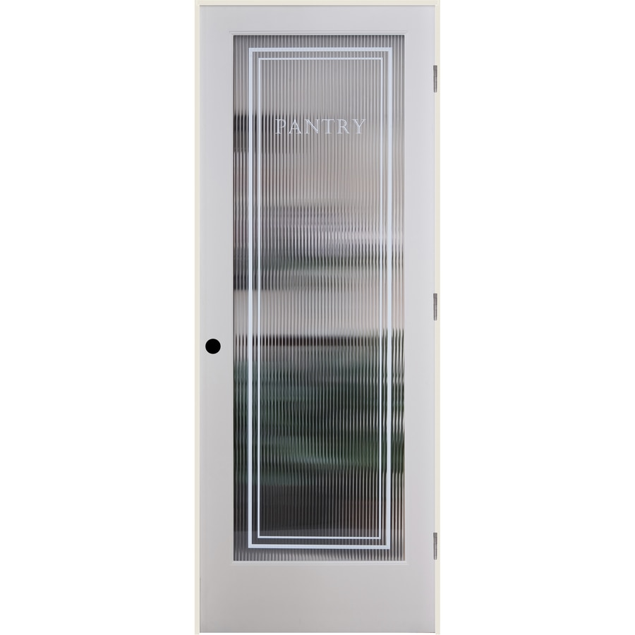 ReliaBilt Reeded Pantry Solid Core Patterned Glass Single Prehung Interior Door (Common: 32-in x 80-in; Actual: 33.5-in x 81.6875-in)