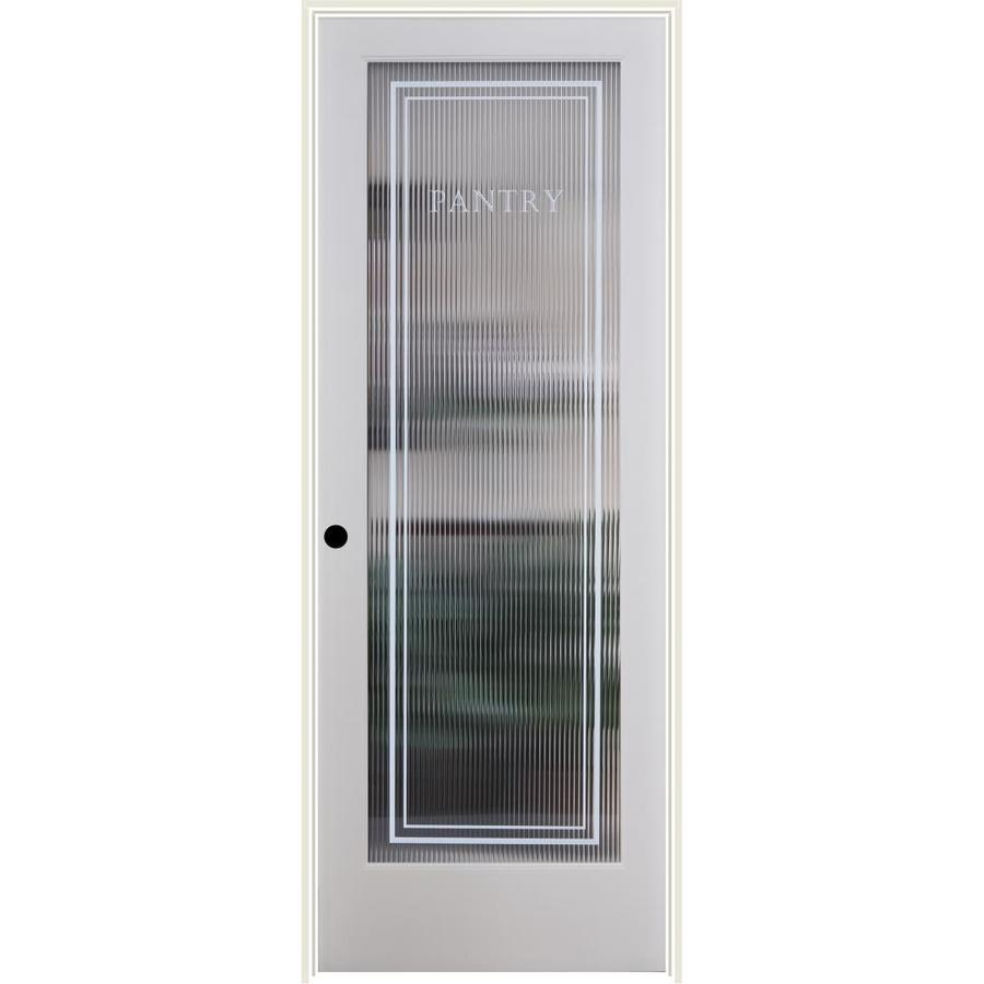 ReliaBilt Reeded Pantry Solid Core Patterned Glass Single Prehung Interior Door (Common: 30-in x 80-in; Actual: 31.5-in x 81.3125-in)