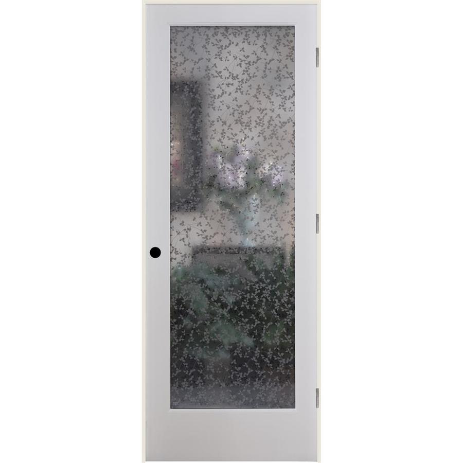 ReliaBilt Ivy Solid Core Frosted Glass Single Prehung Interior Door (Common: 24-in x 80-in; Actual: 25.5-in x 81.3125-in)